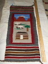 Navajo Rug Crownpoint Auction, #2181 Mountain Sheep Hogan. Pinon. 9 1/2 x 21""