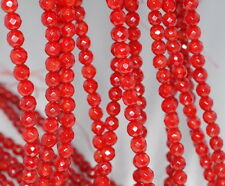 6MM RED CORAL GEMSTONE GRADE A FACETED ROUND LOOSE BEADS 15.5""