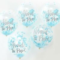 """12"""" About to Pop Blue Confetti Balloons Oh Baby Shower Boy Party Decorations x 5"""