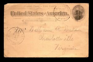 1897 WASH & Charlottesville RPO Card / Creasing - L29362