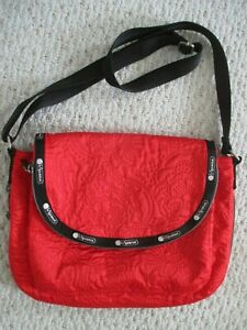LeSportsac Red Expandable Messenger Handbag  Colette?