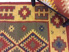 Dark Red Yellow Tribal Geometric Handmade Natural Fibres Wool Kilim Rugs Runner