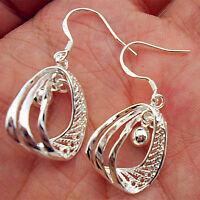 925 Sterling Silver Plate Lady Fashion Hoop Dangle Earring LOVE Jewelry Eardrop