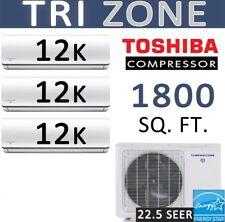 36000 BTU Tri Zone Ductless Mini Split Air Conditioner Heat Pump : 12000 x 3