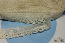 "14yds Embroidery cotton ribbon eyelet lace trim 0.8"" ivory YH1205 laceking2013"