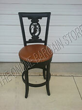 Frontgate Carved Grape leather bar COUNTER Barstool stools kitchen chairs BLACK