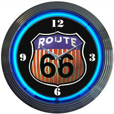 Route 66 rt66 real neon clock sign Garage open Ul wall lamp Neonetics