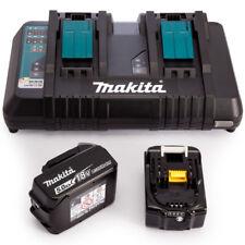Makita BL1850 18 V 2 x LXT 5.0ah batterie agli ioni di litio + CARICABATTERIE DC18RD DUAL PORT