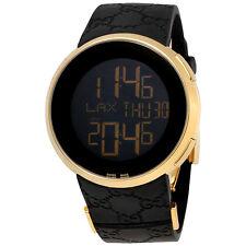 Gucci I-Gucci Yellow Gold-tone Black Rubber Mens Watch YA114229
