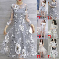 Women's Summer Organza Floral Print Wedding Party Ball Prom Gown Cocktail Dress