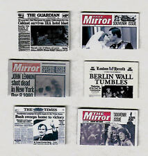 SIX HAND-MADE DOLLS' HOUSE 1/12TH SCALE 1980'S NEWSPAPERS
