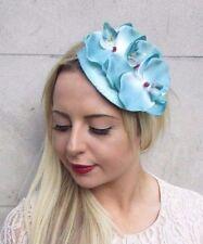 Turquoise Blue Orchid Flower Fascinator Teardrop Races Wedding Headband 3798