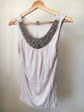 H&M Beaded Neckline Size 10 Viscose Stone Sleeveless Top <T11414