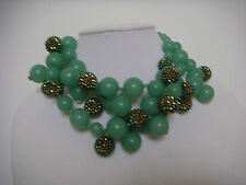 KENNETH JAY LANE Multi Strand Jade Pave Bead Cluster Necklace New