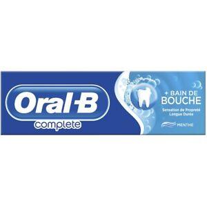 Lot de 3 Oral B Dentifrice complète bain de bouche fraicheur longue durée 75 ml