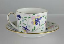 COALPORT Bone China England PAGEANT Floral Gold Trim FLAT CUP & SAUCER SET