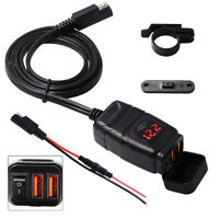 Dual USB QC 3.0 Fast Charging W/ LED Voltmeter +Handlebar Bracket For Motorcycle