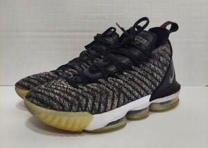 Mens Nike LeBron 16 'Oreo' Black/Metallic Silver/White Basketball Shoes Size 8.5