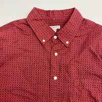 Merona Button Up Shirt Men's 2XL XXL Short Sleeve Red Blue Casual Linen Blend