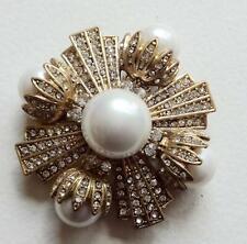 Oscar De La Renta Vintage Brooch Haute Couture Pearls Ice Rhinestone Maltese Cro