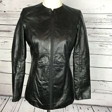 5d34c9aaeb08 Halogen Genuine Leather Full Zip Crew Neck Motorcycle Jacket Women Size XS  Black