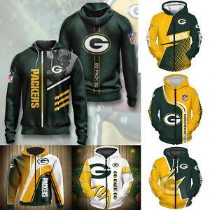 Green Bay Packers Men Fan Athletic Hoodie Zipped Hooded Jacket Jogging Coat Top