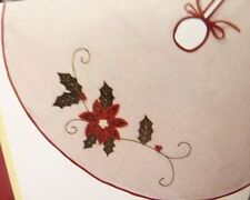 Holiday Living 56 In Tree Skirt Rustic Ivory With Poinsettia and Holly Applique