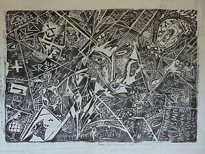 Merztisch titel 01/20 linocut large convas signature artist