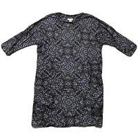Monsoon Patterned Jersey Tunic Shift Dress 3/4 Sleeve Black/Blue/Grey UK 14 Z1