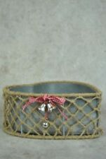 Heart Shaped Rustic Baskets with Tin Lining- Checked Ribbon and Bells