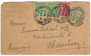 India Old Uprated Postal Stationery Cover Mixed Franking 1914 with Wax Seal