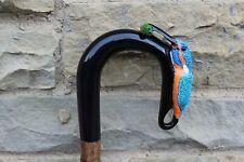 More details for hand carved buffalo horn kingfisher walking stick on hazel shank 46.5