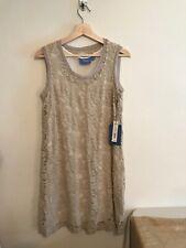 Simply Vera Wang ladies navy blue white ruched asymmetrical dress PXL $64