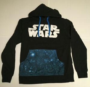 Small Star Wars Adult Mens Black Galaxy Front Pocket Hoodie Sweatshirt