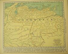 Antique 1929 Frameable Color Map VENEZUELA Columbia Territorio Amazonas Monagas