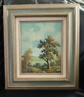 "Vintage Mid 20th Century Oil Painting Trees Sky Landscape Scene Signed ""Homer"""
