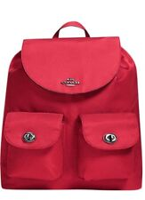 NWT Coach F58814 Nylon BackPack $375  ANTIQUE silver/True red