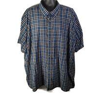 Canyon Ridge Mens Casual Button Front Shirt Blue White Plaid - 4XL