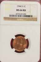 1944-S NGC MS66 RED Lincoln Wheat Cent!! #A0907