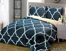 3 Piece Blue Borrego Flannel Sherpa Blanket King Size 7lb