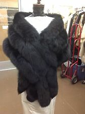 MONROE JET BLACK FOX GORGEOUS 3 ROW STOLE CAPE WRAP SHRUG FLING TAILS NEW