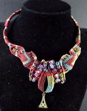 Vintage Art Nouveau Handmade Knotted Choker Necklace Brass Beads Amethyst