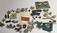Large Lot Of Military Pins Badges Buttons Many Vintage