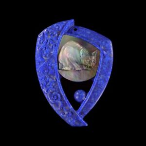 Carved Cat MOP LAPIS Designer Bead GF033009