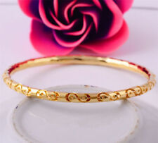 Hot Women Wedding 14K Yellow Gold Filled Bangle Bracelet 70MM Charms Jewelry