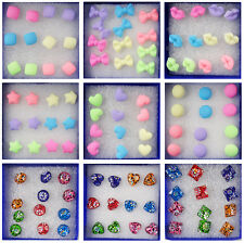 6 Pairs / Set Chic Girls Bowknot Lips Candy Rubber Matte Women Stud Earrings