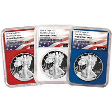2018-W Proof $1 American Silver Eagle 3pc. Set NGC PF69UC FDI Flag Label Red Whi