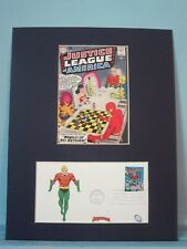 DC Comic Book Hero Aquaman & the Justice League and First Day Cover of his Stamp