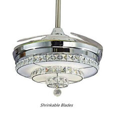 "Ceiling Fan 42"" Invisible Crystal Light Living Room Chandelier Fixture+Remote US"