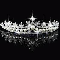 Tiara Wedding Veil Headband Crown Bridal Princess Rhinestone Pearl Crystal Hair